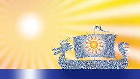 Silhouette of a dragon boat in the background of the sun. Video. stock footage