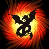 Dragon in whirlpool of fire. Silhouette of dragon on fire flame background. Vector illustration royalty free illustration