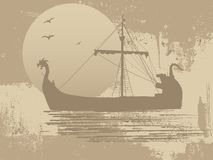 Silhouette of the dragon ship Royalty Free Stock Image
