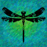 Silhouette of a dragonfly painted by blots. Royalty Free Stock Photo