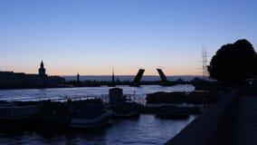 Silhouette drawbridge across the Neva River stock footage