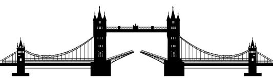 Silhouette of the drawbridge Royalty Free Stock Photos