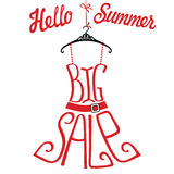 Silhouette of dress  from words Big sale.Hello summer Royalty Free Stock Image