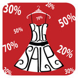 Silhouette of dress  from words Big sale,numbers,percent sign. Typography dress Design.Silhouette of summer dress from words,numbers,percent sign on red Royalty Free Stock Photos