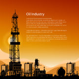 Silhouette Drilling Rigs and Text Royalty Free Stock Photos
