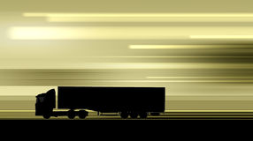Silhouette of driving truck on highway Stock Photos