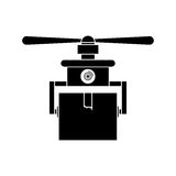 Silhouette drone carrying box with one airscrew Royalty Free Stock Photos