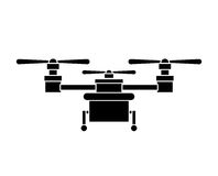 Silhouette drone with three airscrew and train of landing Stock Photography