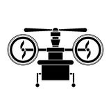 Silhouette drone with train of landing and three airscrew Royalty Free Stock Photos