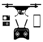 Silhouette drones with remote control. eps 10 vector illustration. Silhouette drones with remote control. Drones for aerial filming . eps 10 vector illustration Royalty Free Stock Photos