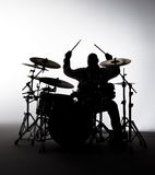 Silhouette of a Drummer Stock Photos