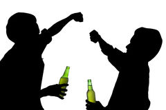 Silhouette drunk men fights Stock Photo