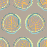 Silhouette of dry wood, squiggle pattern retro seamless. Vector Stock Photo