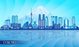 Silhouette détaillée d'horizon de ville de Tokyo Image stock