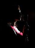 Silhouette du chant de femme Images libres de droits