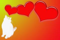 Silhouette du chat et de trois coeurs rouges Photo libre de droits