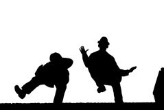 Silhouette du danseur masculin d'isolement sur le blanc Images libres de droits
