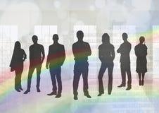 Silhouette du groupe de personnes avec le fond de transition Images libres de droits