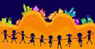 silhouette du jeu de gosses Photographie stock libre de droits