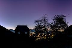 Silhouette du mien d'Adelmann pendant l'heure de moo0rning Photo stock