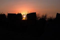 Silhouette du mur du temple antique Photo libre de droits