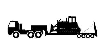 Silhouette du tracteur sur le chalut Image stock