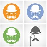 Silhouette du visage du monsieur avec des moustaches - capitaliste ou hippie Image stock