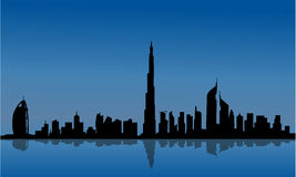 Silhouette of Dubai and reflections Stock Photo