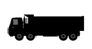 Silhouette of a dump truck on white background. Stock Photo