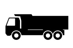 Silhouette of a dump truck on white background. Royalty Free Stock Photo