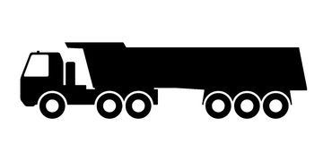 Silhouette of a dump truck on white background. Royalty Free Stock Image