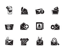 Silhouette E-mail and Message Icons Royalty Free Stock Images