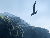Silhouette of an eagle soaring above mountains. (snow tops and mountains with a wood Royalty Free Stock Photography