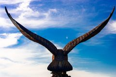 Silhouette of eagle statue, view from back royalty free stock images