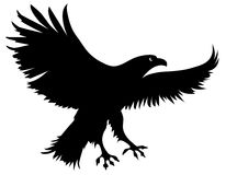 Silhouette of an eagle (vector). Expressive silhouette. The eagle is ready to attack Stock Images