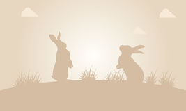 Silhouette of easter bunny at sunset Royalty Free Stock Photo