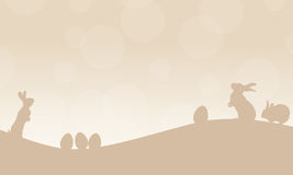 Silhouette of easter egg and rabbit. Landscape vector Royalty Free Stock Photos