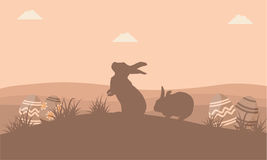 Silhouette of easter egg and rabbit vector flat. Collection Stock Images