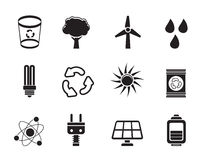 Silhouette Ecology, energy and nature icons Stock Images