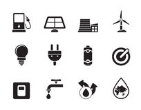 Silhouette Ecology, power and energy icons. Vector icon set Stock Photos