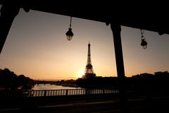 Silhouette of Eiffel tower. Early morning with the Eiffel tower in the sunset royalty free stock image