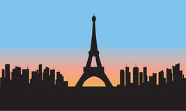 Silhouette of eiffel tower cityscape Stock Images