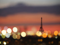 Silhouette of Eiffel tower and night lights of Paris, France Stock Image