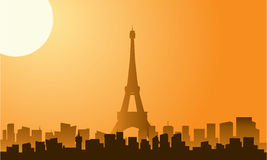 Silhouette of eiffel tower at sunrise Stock Images