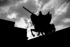 Silhouette of El Cid Campeador in Burgos Stock Photos