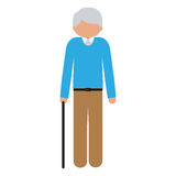 Silhouette elder with walking stick without face Stock Image