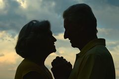 Silhouette of an elderly couple Royalty Free Stock Images