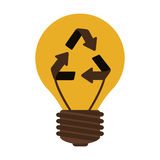 Silhouette electric bulb with recyled sign Royalty Free Stock Photography