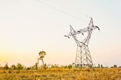 Silhouette of electric cable Stock Photo