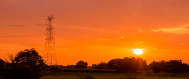 Silhouette of electric tower Stock Image